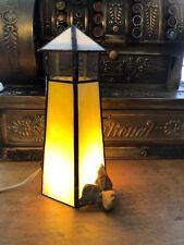 "Handmade Artisan Lighthouse Stained Glass Lamp 9.5"" Tall Light w/ Real Rocks"