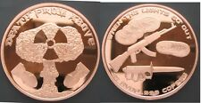 1 OZ COPPER COIN DEATH FROM ABOVE 2ND AMENDMENT AK-47 BULLET ANONYMOUS MINT 1-20
