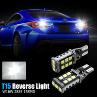 2X T15 W16W 921 CANBUS SAFE LED REVERSE LIGHT BULBS PURE WHITE SAMSUNG 15 SMD UK
