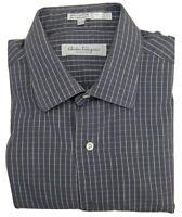 Salvatore Ferragamo Grey & White Cotton Long Sleeve Shirt Vintage Size Large L