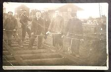 carte photo Jougla - entretien voie ferrée en 1910 train gare cheminot Villeroy