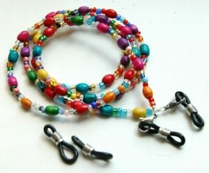 Spectacle/Sun glasses Chain/Cord Mixed Colour Wooden Oval Wood Tube Beads
