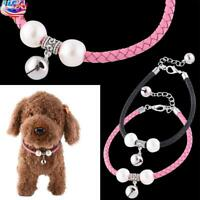 Pet Leash Collar Pearl Rhinestone With Bell Kitten Puppy Necklace for Cat Dog US