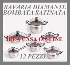 BAVARIA BATTERIA DI PENTOLE DIAMANTE 12 PEZZI SERIE LIMITATA INOX 18/10 OFFERTA