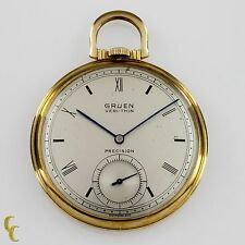 10k Gold Filled Gruen Open Face Veri-Thin Pocket Watch 17 Jewels Size 8S