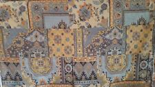 BLUE TAN TERRACOTTA TRADITIONAL TAPESTRY WOVEN UPHOLSTERY FABRIC