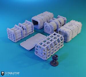 Sci-fi Shipping Container (6 Variants) w/ bonus. 40k Terrain, Kill Team...