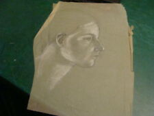 Vintage original LESLIE SNOW (Feron) Art -- GIRLS FACE -- unsigned W WHITE ADDED