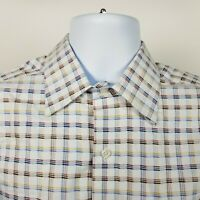 Johnston Murphy Tailored Fit Mens White Blue Check Dress Button Shirt Size Large