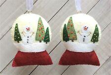 Christmas Ornament Felt Embroidery Kit Snowglobe Trees Snowman Makes 2