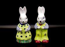 Slovenska Ludova Majolika Boy Girl Male Female Ceramic Easter Bunny Figurines
