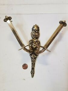 Double Toilet roll holder Cast brass French c1920 wow! stunning old Bathroom