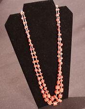 "Navajo Two-Strand Branch Coral Chunks and Shell Heishi Beads 27 1/2"""