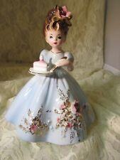 """Rare Josef Original Birthday Party Girl-Blue Dress-Carries a Piece of Cake-5.5"""""""