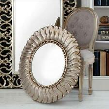 Large Champagne Gold Leaf Sunburst Round Hall Wall Glass Mirror Antique New