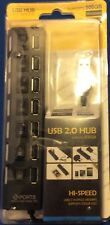 NEW - Kocaso 7-Port USB Hub with On & Off Switch Black Hi-Speed supports 500 GB