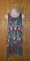 Pink Rose Womens M Red Blue Paisley Boho Sleeveless Top