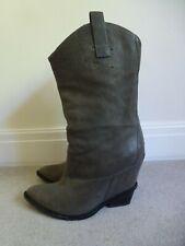 GUISEPPE ZANOTTI Ladies Khaki Brown Leather Cowboy Boots Size EU 37.5/UK 4.5