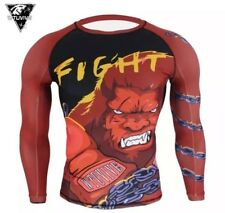 MMA Boxing Rashguard Shirt Angry Gorilla Beast Medium Large XL Surf Red Men's