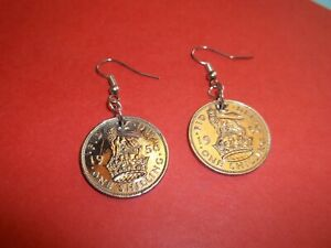 SHILLING COIN DROP SILVER EAR RINGS - ENGLISH LION - 1947 to 1966