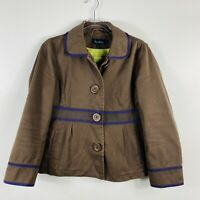 Boden US 8 UK 12 Brown Button Front Jacket 100% Cotton Casual Everyday