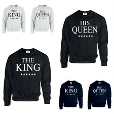 THE KING HIS QUEEN CROWN JUMPER valentines Couples Matching gift (SWEATSHIRT)