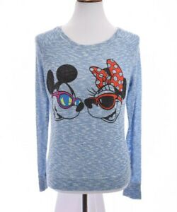 Disney Parks Womens Sz M Mickey Minnie Mouse Sweater Top Marbled Knit Blue