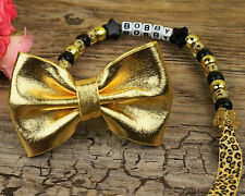 Personalised Stunning shiny bow gold Dummy Clip Chain Any Name for reborn dolls