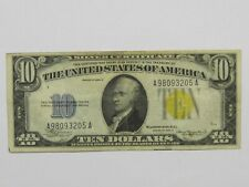 1934-A U.S. $10 Silver Certificate Yellow Seal North Africa WWII Emergency Note
