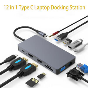 12-in-1 Type-C Laptop Docking Station USB 3.0 HDMI VGA PD TF Hub for Notebook