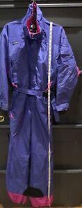 Sz M - Vtg 80s COLUMBIA Women's One Piece Ski Suit Purple Pink Bubblegum Neon