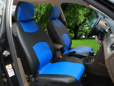 2 Front Black Blue Leatherette Auto Car Seat Cushion Covers Universal #15909