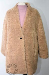 BNWT Zara Faux Shearing Teddy Bear Coat Camel Size 10