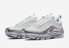 "AT5458-100 NIKE AIR MAX 97 QS ""METALLIC PACK"" White Red Silver Black Men's Shoe"