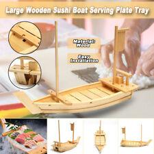 Large 60x21cm Wooden Sushi Boat Traditional Japanese Sashimi Serving Tray Plate