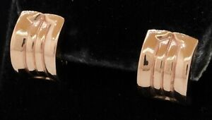 14K Rose gold fancy high fashion curved earrings