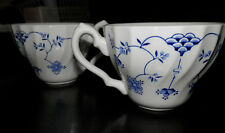 Set of 2 White Tea Cups with Blue Flowers - Made in England