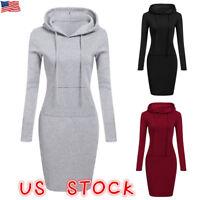 US Women Casual Midi Dress Long Sleeve Hoodie Hooded Jumper Pockets Sweater Tops