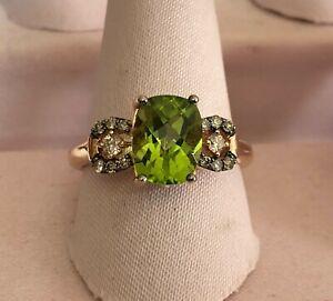Le Vian Peridot Ring Chocolate & Vanilla Diamond 14K Rose Gold Size 7 Macys