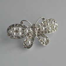 Clear crystal/diamante & ivory pearl butterfly hair clip/barrette/slide. UK
