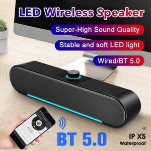 Laptop TV Bluetooth Wired Sound Bar Speaker Desktop Computer PC USB Deep Bass