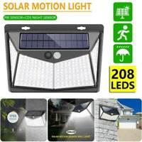 208 LED Solar Powered Lights PIR Motion Sensor Garden Security Wall Lamp Outdoor