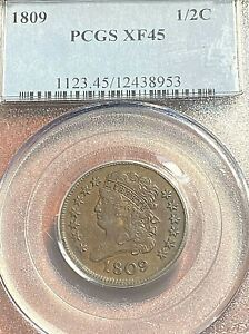1809 Half Cent PCGS XF45 Nice Brown Surfaces, Easily Best Price on Ebay CHN