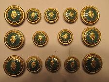 14 P  DESIGNER SHANK blazer BUTTON SET Metal  24/30 Coat Gold / Green  Enamel