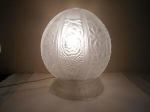 ANCIENNE LAMPE DE TABLE GLOBEMONTGOLFIERE VERRE MOULE FLEURS STYLEART DECO