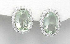 Solid Sterling Silver Natural Mint Green Amethyst & CZ Earrings French Clips