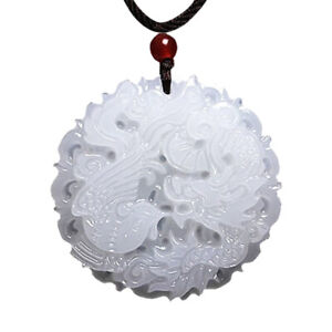 China Natural Hetian White Jade Hand-carved Pendant Dragon phoenix Necklace