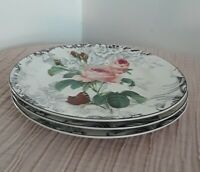 NEW Set of 3 American Atelier ROSE TOILE #5232 Porcelain Salad Dessert Plates