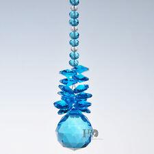Light Blue Crystal Glass Ball Suncatcher Prism Pendant Gift Hanging Garden Decor
