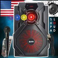 "Portable 8"" Bluetooth DJ Speaker 800W PMPO, PA Loudspeaker Wireless Microphone"